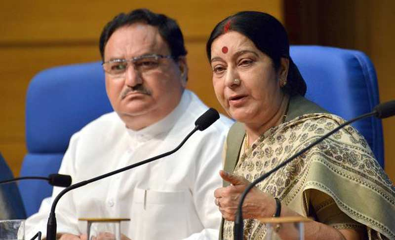 Foreign Minister Sushma Swaraj and Health Minister J. P. Nadda