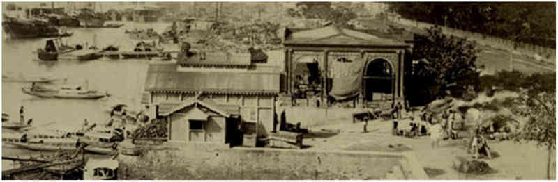 A panoramic photograph of river ghats by Bourne and Shepherd - 1880s