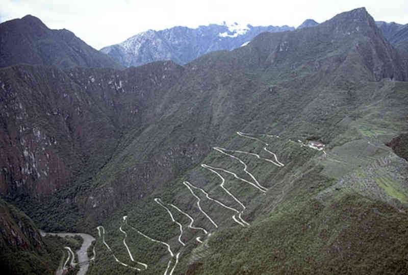 Road from Aguas Calientes up tp Machu Pichu