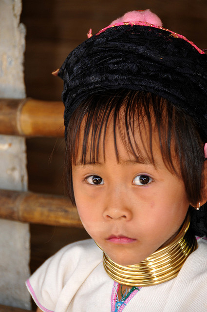 A Kayan child with rings