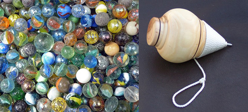 spinning tops and marbles