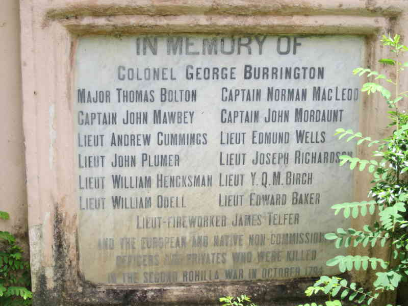 Plaque at the base with the names of the military officers killed in war.
