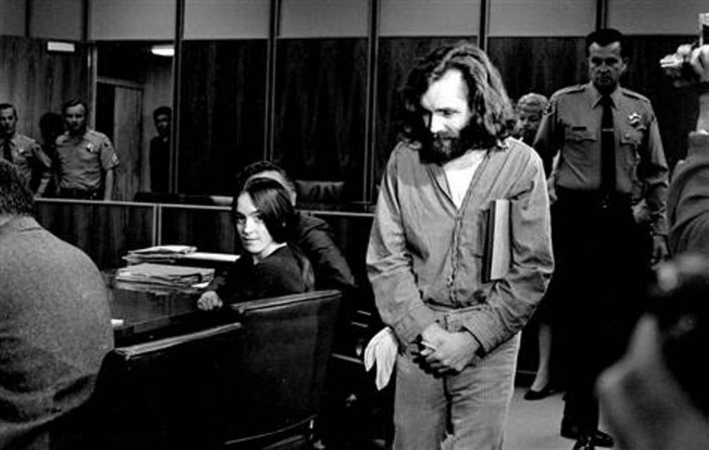 Charles Manson & Susan Atkins in court room