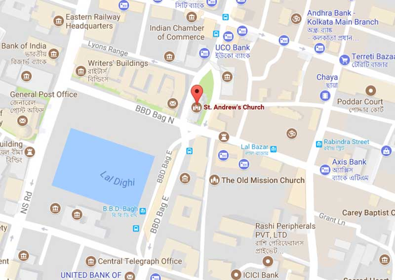 Location of St. Andrews Church Kolkata
