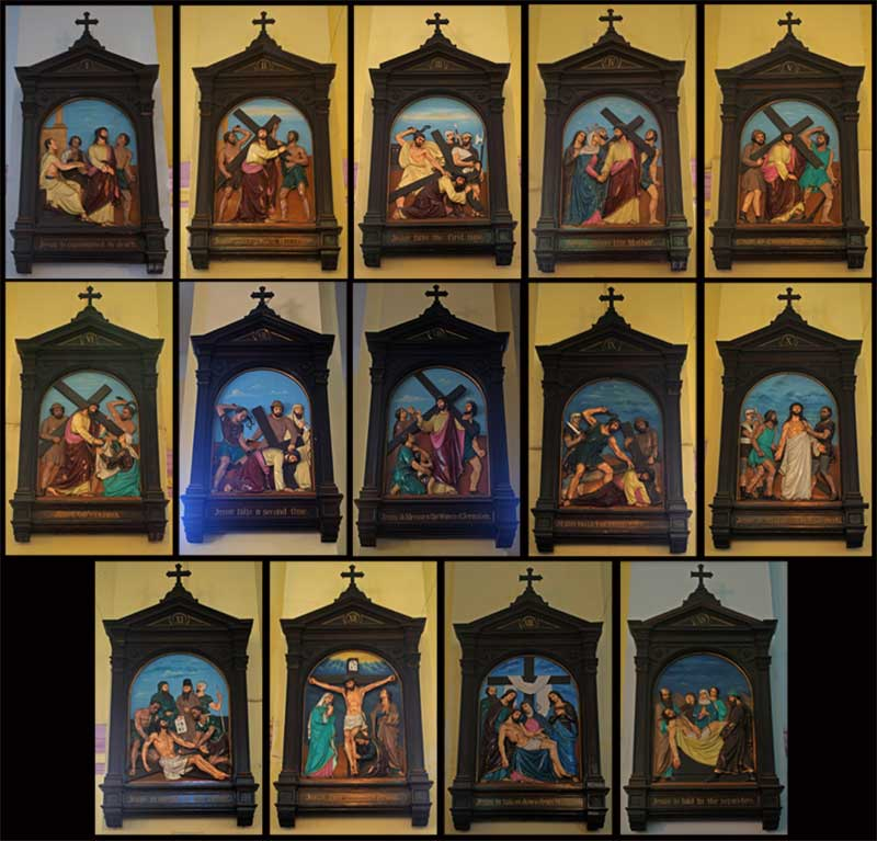 14 Stations of the Cross, also known as the Way of Sorrows or Via Crucis