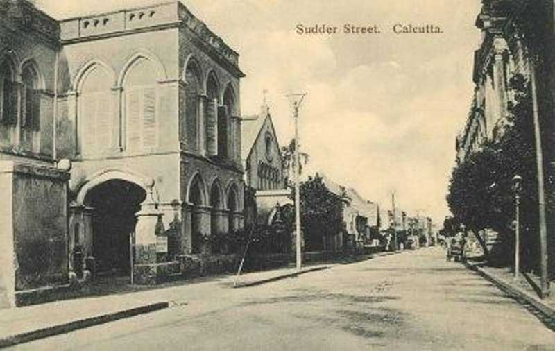 Old picture of Sudder Street with CNI Wesleyan Church